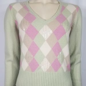 Sweaters - green pink argyle sequined wool sweater juniors L
